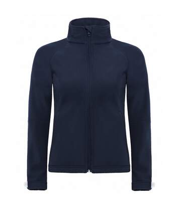 B&C Womens Hooded Premium Softshell Jacket (Windproof, Waterproof & Breathable) (Navy Blue) - UTBC2004