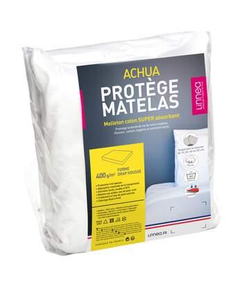 Protège matelas 100x190 cm ACHUA Molleton 100% coton 400 g/m2 bonnet 50cm