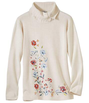 Women's Beige Longline Knit Pullover with Embroidery