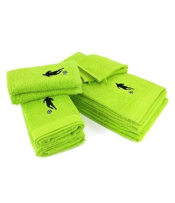 Parure de bain 8 pièces 100% coton 550 g/m2 PURE FOOTBALL Vert Pistache