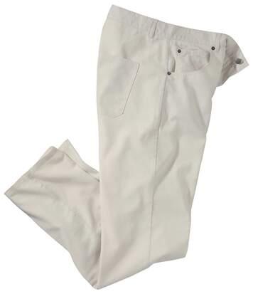 Strečové kalhoty ze směsového materiálu bavlna/len