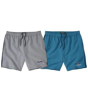 Pack of 2 Men's Microfibre Beach Shorts - Turquoise Grey