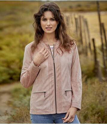 Women's Pink Faux Suede Jacket