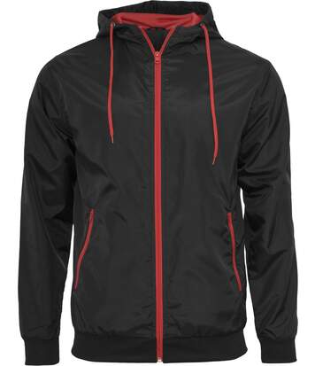 Coupe-vent style bomber - homme - BY016 - noir et rouge