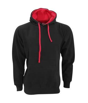 FDM Unisex Contrast Hooded Sweatshirt / Hoodie (300 GSM) (Black/Fire Red) - UTBC2025