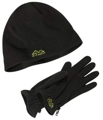 Men's Black Fleece Hat and Gloves Set