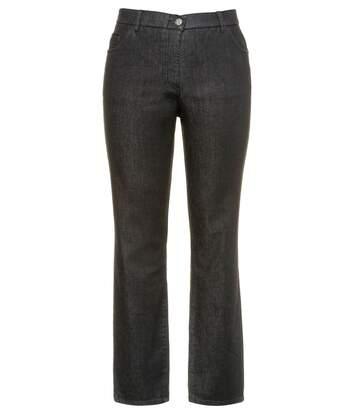 ULLA POPKEN Jeans Mandy 5-pocket comfort waistband straight leg gris NEW