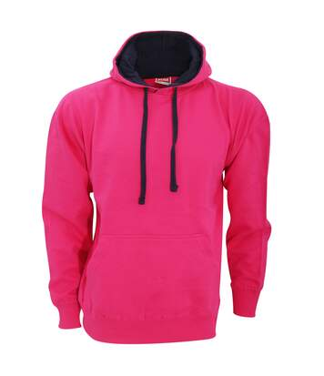 FDM Unisex Contrast Hooded Sweatshirt / Hoodie (300 GSM) (Fuchsia/Navy) - UTBC2025