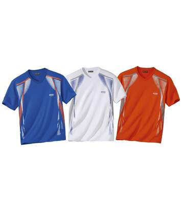 Pack of 3 Men's V-Neck Print T-Shirts - Blue White Orange