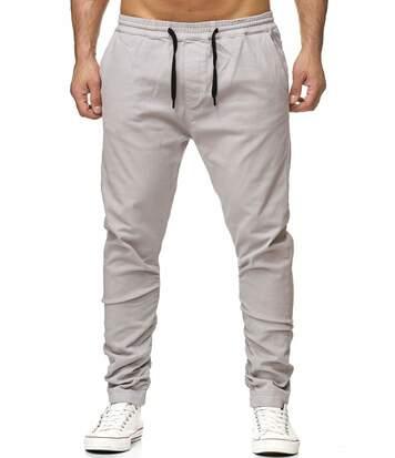 Pantalon Chino élastique à la taille et aux chevilles gris pour Homme