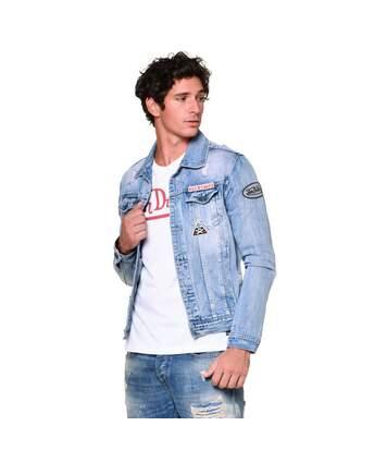 Veste Jeans homme Max Used Bleu