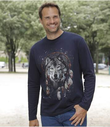 Men's Navy Wolf Print Top