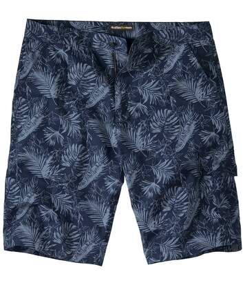 Men's Canvas Cargo Shorts - Blue Exotic Print
