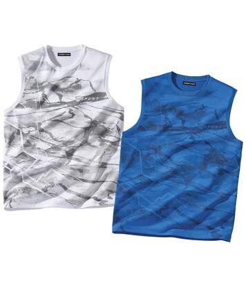 Pack of 2 Men's Sports Vests - Blue White