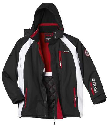 Men's Black & Red Parka Coat with Hood - Water-Repellent - Full Zip
