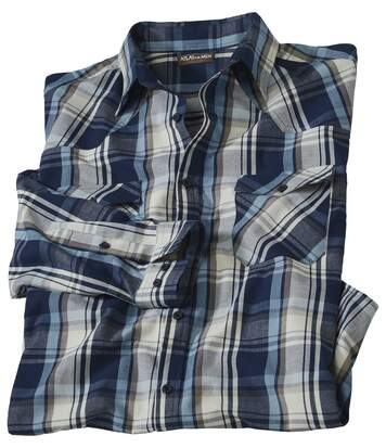 Men's Blue Checked Shirt