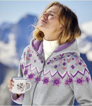 Fleecejacke mit Kapuze im Alpin-Look