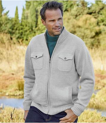 Men's Beige Multi-Pocket Knitted Jacket - Full Zip