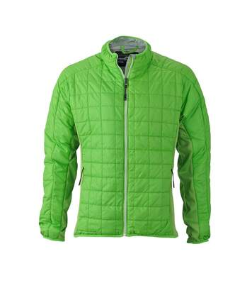 Veste hybride molletonnée - JN1116 - vert - Doudoune Homme