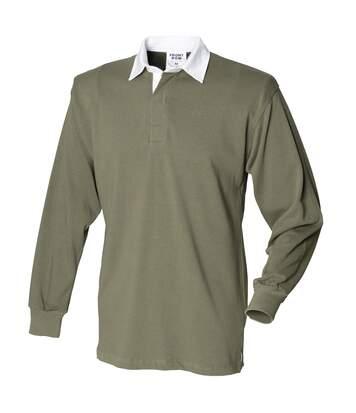 Front Row - T-Shirt De Rugby À Manches Longues En Coton - Homme (Olive) - UTRW473