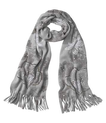 Women's Grey Fleece Scarf with Floral Motif