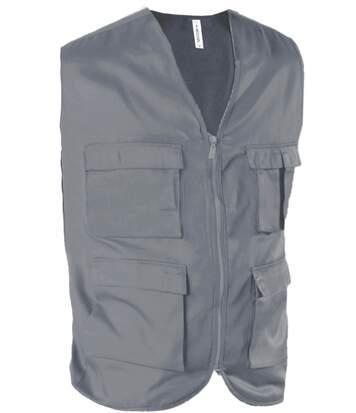 Gilet safari photographe multipoches K624 - gris - veste légère sans manches - reporter
