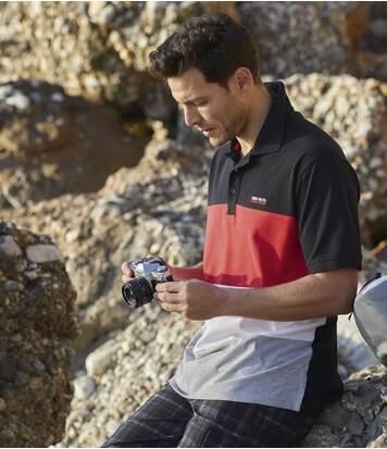 Men's Sporty Piqué Polo Shirt - Black Red White Grey
