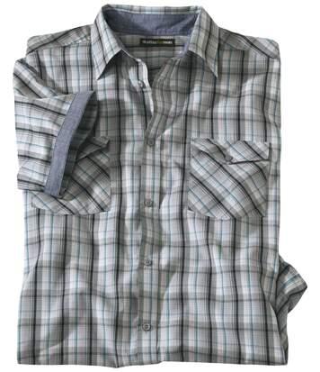 Geruit overhemd met chambray omslag