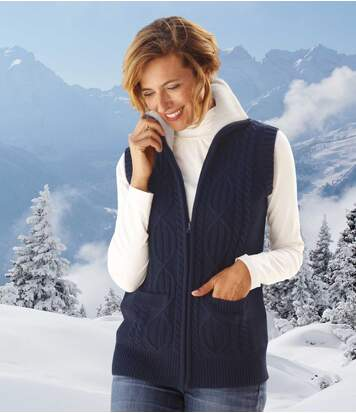 Women's Navy Knitted Gilet