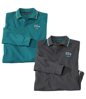 Pack of 2 Men's Long-Sleeved Piqué Polo Shirts - Green Grey