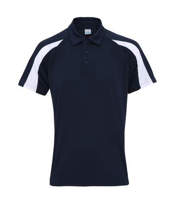 AWDis Just Cool Mens Short Sleeve Contrast Panel Polo Shirt (French Navy/Arctic White) - UTRW3479
