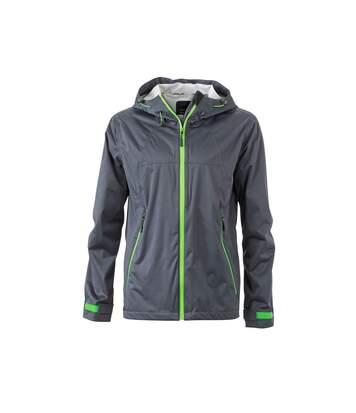 Veste softshell à capuche - homme JN1098 gris fer vert - coupe-vent imperméable