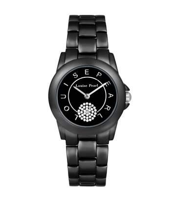 Montre Femme LOUISE PEARL Ornée de Cristaux Swarovski bracelet Acier Noir