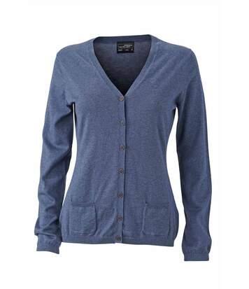 Pull boutonné cardigan cachemire - FEMME - JN667 - bleu denim