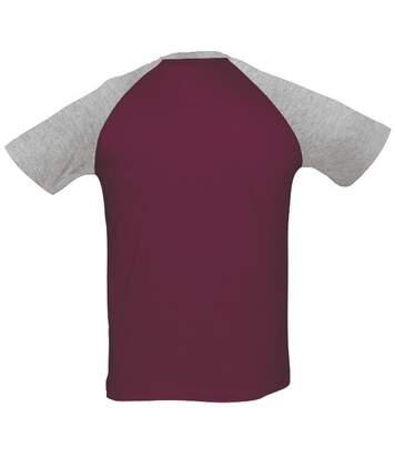 SOLS Mens Funky Contrast Short Sleeve T-Shirt (Burgundy/Grey Melange) - UTPC300