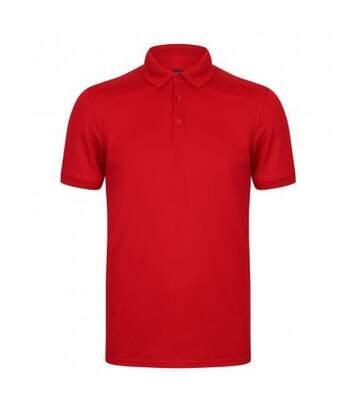 Henbury Mens Stretch Microfine Pique Polo Shirt (Red) - UTPC2951