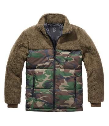 Blouson hiver bi-matière motifs camouflage et polaire vert kaki pour homme