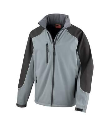 Result Mens Ice Fell Hooded Softshell Breathable Waterproof Jacket (345 GSM) (Grey/Black) - UTBC855