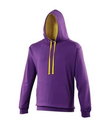Awdis Varsity Hooded Sweatshirt / Hoodie (Heather Grey / French Navy) - UTRW165