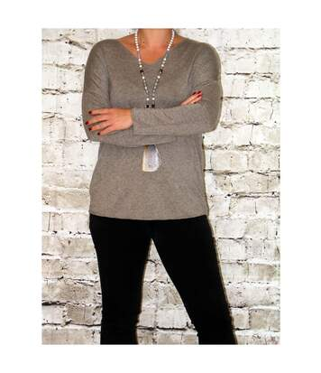 Pull fin laine femme CHANDRA taupe
