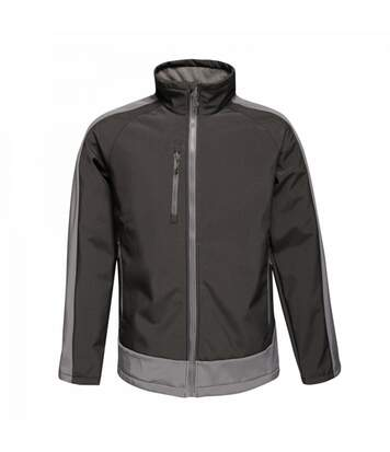 Regatta Mens Contrast 3 Layer Softshell Full Zip Jacket (Signal Black/Slate Grey) - UTRG3747