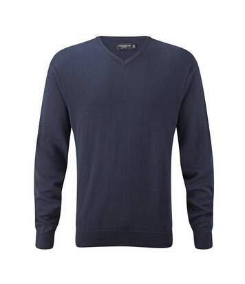 Russell Collection Mens Knitted Crew Neck Pullover (Charcoal Marl) - UTBC4104