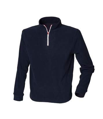 Finden & Hales Mens 1/4 Zip Long Sleeve Piped Fleece Top (Navy/White) - UTRW439