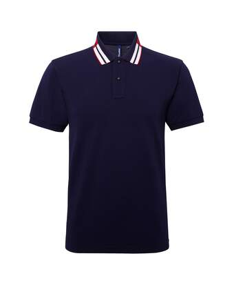 Asquith & Fox Mens Short Sleeve Two Colour Tipped Polo Shirt (Navy/ Red/ White) - UTRW5352