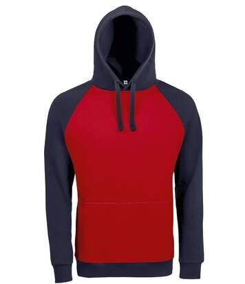 Sweat shirt à capuche poche kangourou unisexe - 02998 - rouge et navy - bicolore