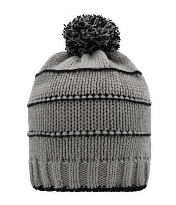 Bonnet tricot à pompon surpiqûres contrastées - MB7144 - gris clair