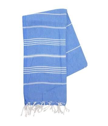 Serviette de plage - fouta - hammam - T1-HAM - bleu et blanc