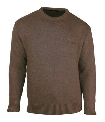 LY0704M PULL MAILLE PIQUE MARRON