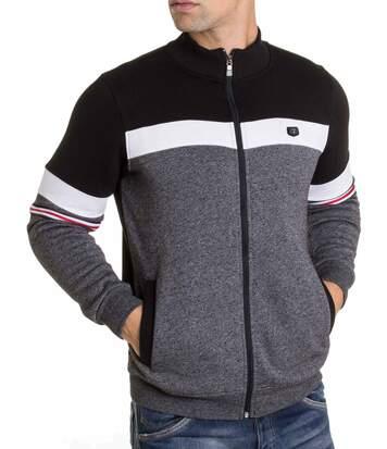 veste stylée homme 8472 noir à rayures