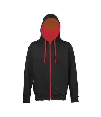 Awdis Mens Varsity Hooded Sweatshirt / Hoodie / Zoodie (Jet Black/Fire Red) - UTRW182